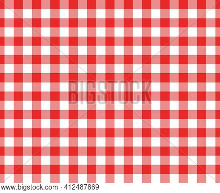 Red And White Gingham Seamless Pattern. Checkered Texture For Picnic Blanket, Tablecloth, Plaid, Clo