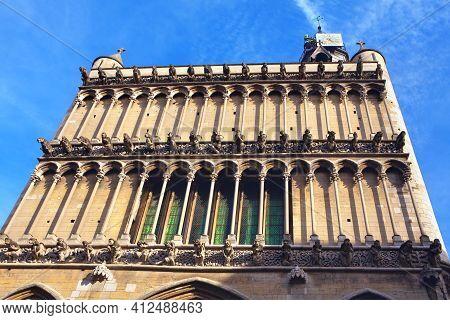 Church Of Notre Dame Of Dijon . 13th-century Gothic Architecture .  Gargoyles Intriguing Stone Creat