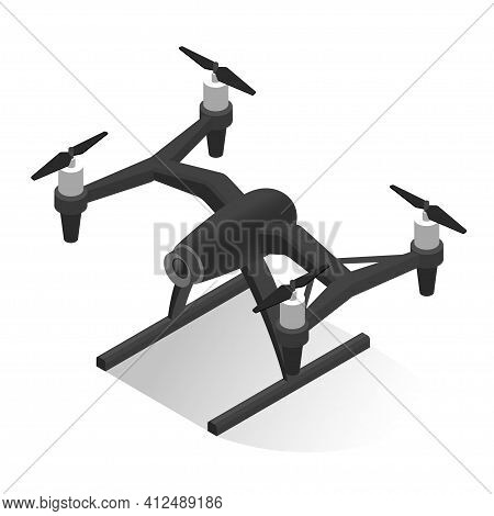 Electric Security Surveillance Drone Vector Isometric Illustration Flying Aerial Robotic Equipment