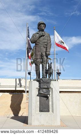 CHIRIACO SUMMIT, CA - DECEMBER 10, 2016: General Patton Memorial Museum. Statue of the General in front of the Museum in his honor.