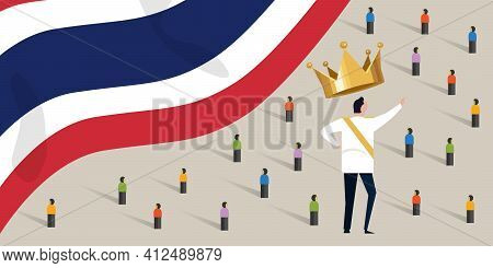 Thailand King Monarch With Crowd People Protesting Or Support