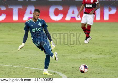 Rio, Brazil - March 14, 2021: Gabriel Batista Goal Keeper In Match Between Flamengo V Fluminense By