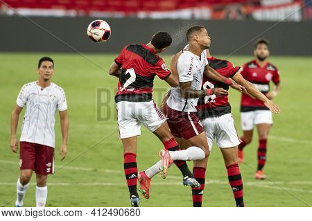 Rio, Brazil - March 14, 2021: Matheuzinho In Ball Dispute With Fernando Pacheco Player In Match Betw