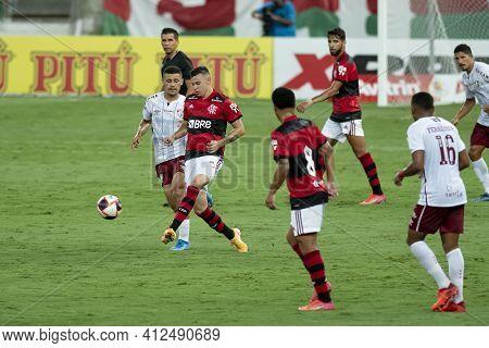 Rio, Brazil - March 14, 2021: Hugo Moura Player In Match Between Flamengo V Fluminense By Carioca Ch