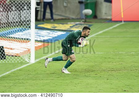 Rio, Brazil - March 14, 2021: Marcos Felipe Goal Keeper In Match Between Flamengo V Fluminense By Ca