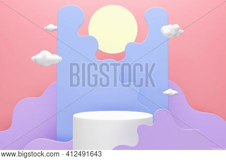 White Podium Whit Abstract Clouds And Moon, Space For Text Or Product Advertising, 3d Render