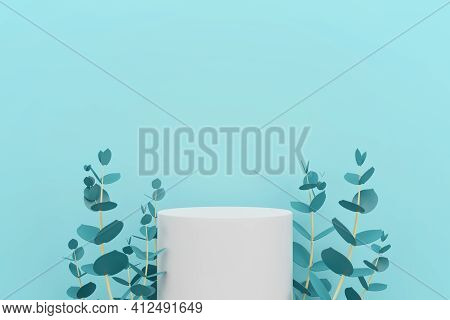 White Podium With Green Eucalyptus Leaves , Space For Product Advertising Concept, 3d Render