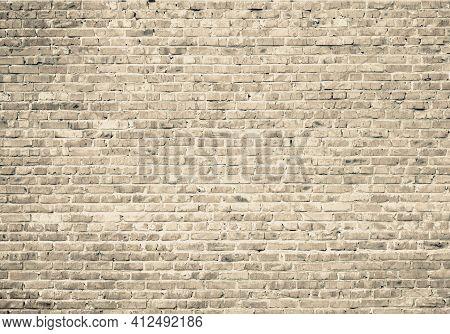 Grunge Brown Brick Wall Background. Aged Texture