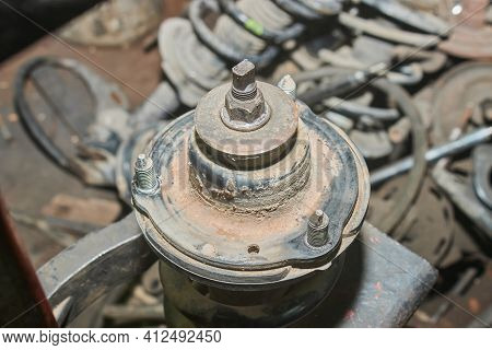 Upper Spring Seat And Shock Absorber Upper Bushing And Nut On Car Part Background