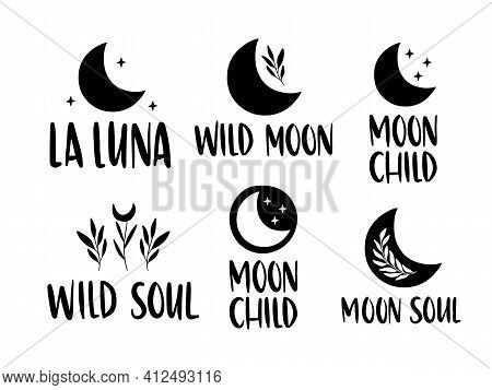 Moon Inspirational Lettering Quote Set. Boho Poster. Vector Floral Moon For Logo, Card, Magic, Print
