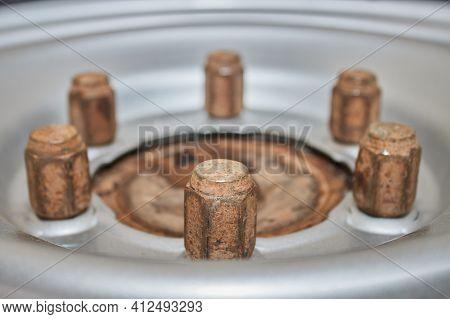Zoom View Car Wheel Nut On Wheel Hub And Wheel Rim