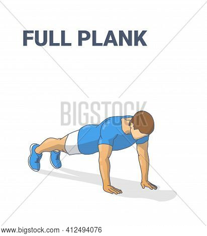 Full Plank Male Home Workout Exercise Guidance Illustration. Sporty Man Working At Home On His Abs.