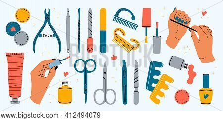 Vector Set Of Manicure Tools. Various Manicure Accessories. Female Hands Of A Master. Nail Scissors,