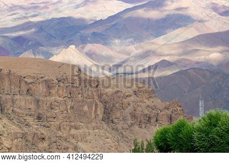 Beautiful Play Of Light And Shadow On Mountains Of Mulbekh, Himalayan Mountains Created By Shadow Of