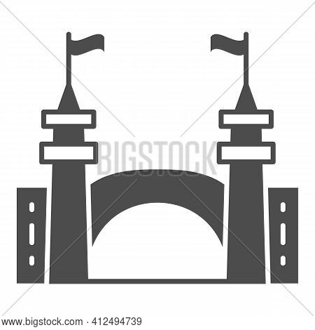 Gate To Amusement Park Solid Icon, The Rides Concept, Castle Silhouette Sign On White Background, Am