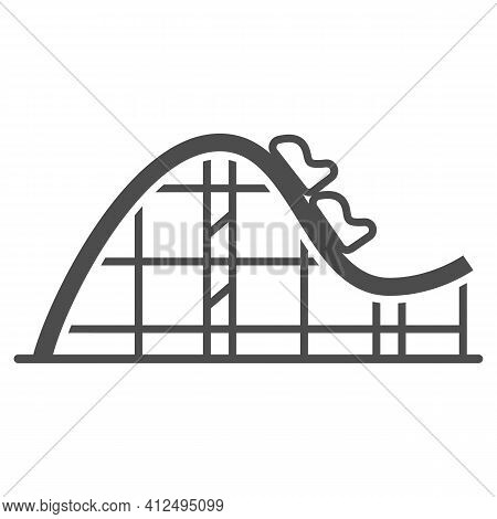 Rollercoaster Ride Solid Icon, The Rides Concept, Extreme Roller Sign On White Background, Amusement
