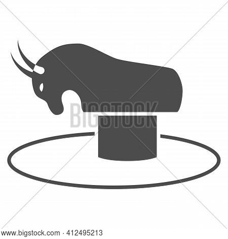 Attraction Rodeo Solid Icon, The Rides Concept, Mechanical Bull With Saddle Sign On White Background
