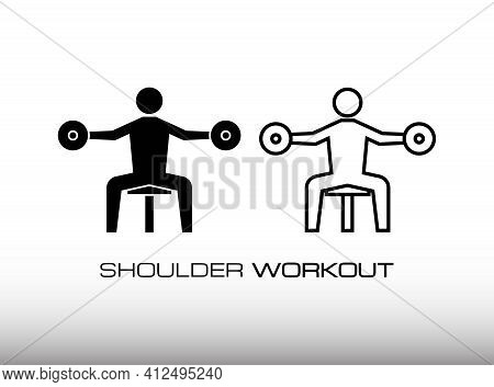Set Of Workout For Shoulder Muscle And Bigger Image Icon Vector. Consist Of Two Variation Icon Vecto
