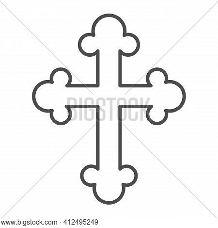 Orthodox Or Catholic Cross Thin Line Icon, Happy Easter Concept, Christian Symbol Of Crucifix On Whi