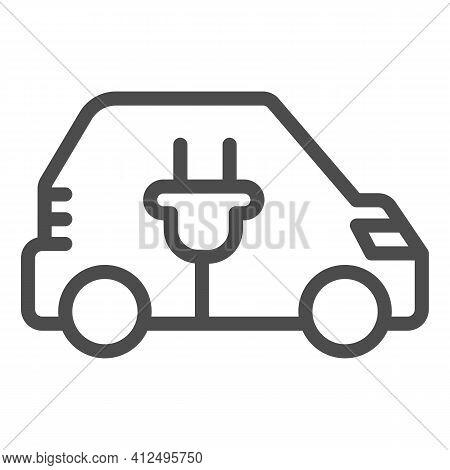 Car And Plug Line Icon, Electric Car Concept, Ev Transport Logo Sign On White Background, Hybrid Ele