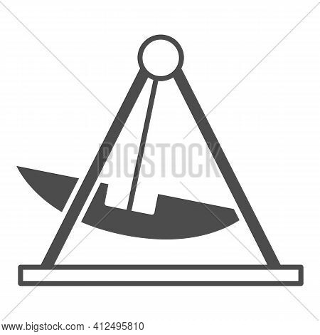 Attraction Swing Solid Icon, The Rides Concept, Boat Carousel In Amusement Park Sign On White Backgr