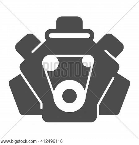 Internal Combustion Engine Solid Icon, Car Parts Concept, Car Motor Sign On White Background, Engine