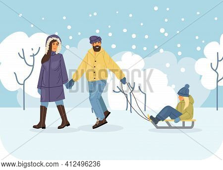 Active People In The Winter Park. Winter Time. Happy Family Walking And Ride Child On The Sled. Outd