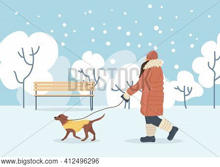 Active People In Winter City Park. Winter Time. Girl Walks With Dog In Winter City Park. Outdoor Win