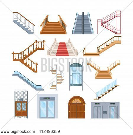 Wooden, Metal Staircase With Handrails. Wooden Staircases Covered With Red Carpet, Spiral Staircase,