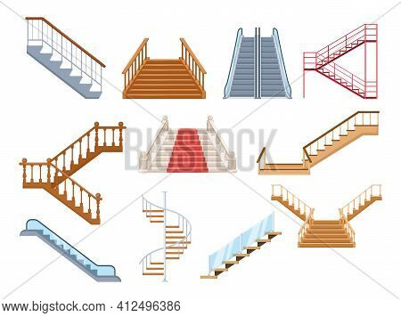 Wooden And Metal Staircase With Handrails Set. Wooden Staircases Covered With Red Carpet, Spiral Sta