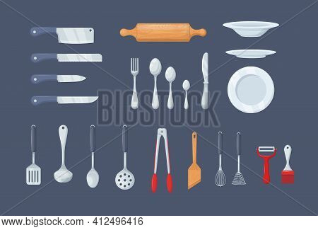 House Cookware Utensils For Cooking. Set Of Kitchen Knives, Cutlery Forks, Spoons, Set Of Ladles, Po