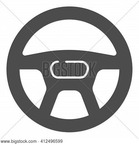 Steering Wheel Of Car Solid Icon, Car Parts Concept, Automobile Steering Wheel Sign On White Backgro