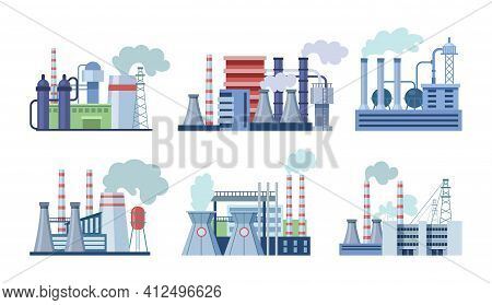 Industrial Factory Buildings Set. Industrial Buildings With Pipes, Power Station, Thermal Nuclear Po