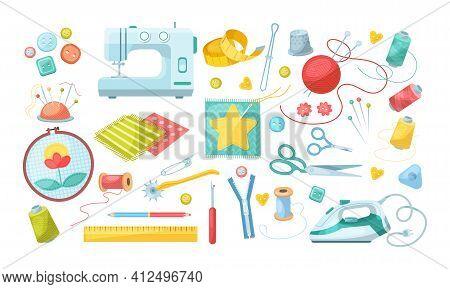 Needlework Tools Set. Handmade Kit: Sewing Machine, Iron, Scissors, Spools Of Thread, Buttons, Needl
