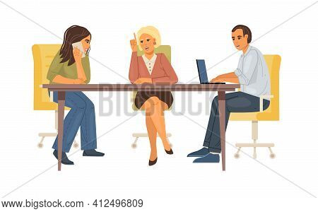 Business Office Workers Team Cooperation. Team Meetings Together, Teamwork Group Of People Over The
