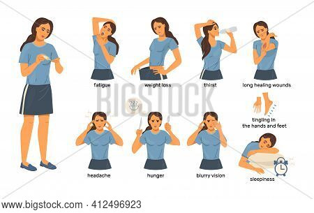 Cartoon Icons Set Woman Who Has Diabetes Symptoms. Chronic Fatigue, Changes In Weight, Thirst For Dr