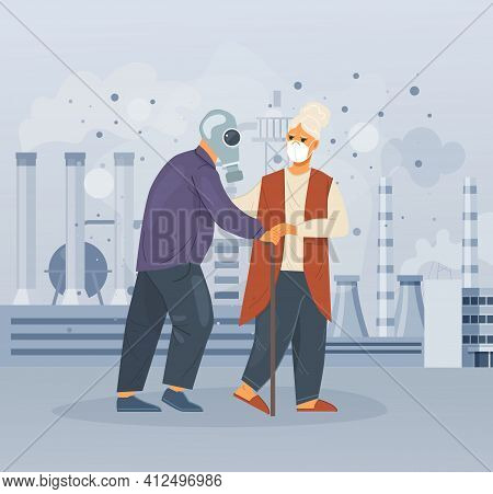 Group Elderly People Choking On Dust Wearing Protective Face Masks Walking Along Dusty Polluted Stre