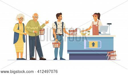 Group People Waiting In Queue Supermarket. Food Store Elderly Couple And Man In Queue To The Cashier