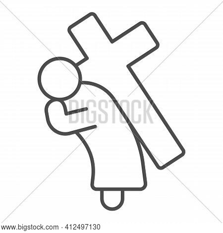 Jesus Christ With Cross Thin Line Icon, Happy Easter Concept, Easter Holiday Savior Sign On White Ba
