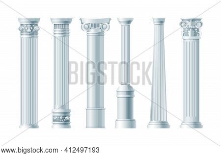 Realistic Antique Pillars Set. Antique Column, Classic Pillar. Ancient Ornate Pillars Historic Roman