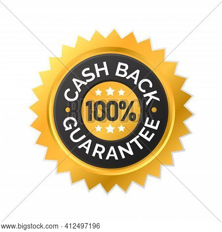 Vector Illustration Of Money Back Guarantee Label Icon. Perfect For The Design Elements Of A Shop Pr