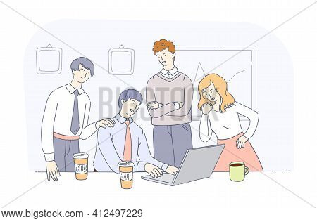 Business Office Workers Team Cooperation. Business Team Meetings Together, Teamwork Group Of People