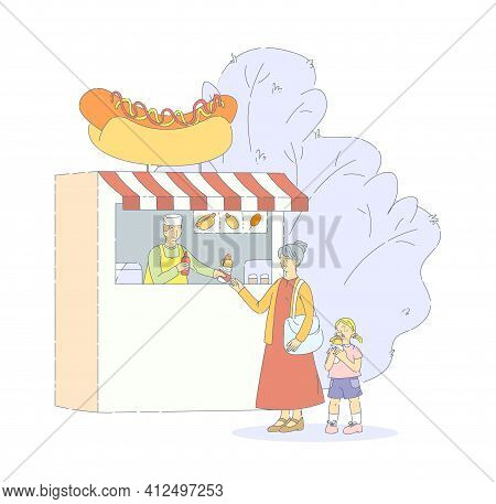 Street Food Festival With Fast Food Trucks. Mom Daughter Buy Hot Dog From Fast Food Seller, Eating F