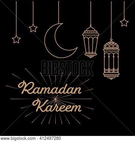 Hanging Lantern Decoration For Ramadan Celebration In Mono Line Style On Black Background. Vector Il