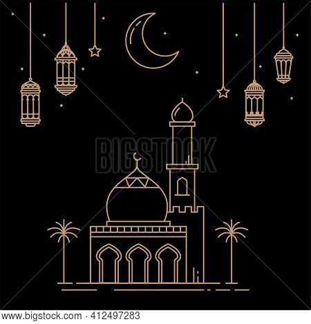 Celebration Of The Month Of Ramadan With Lantern Decorations And Mosques Isolated On A Dark Backgrou