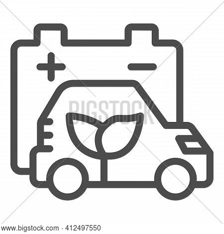 Battery And Electric Vehicle With Plant Line Icon, Electric Car Concept, Eco Friendly Vehicle Chargi