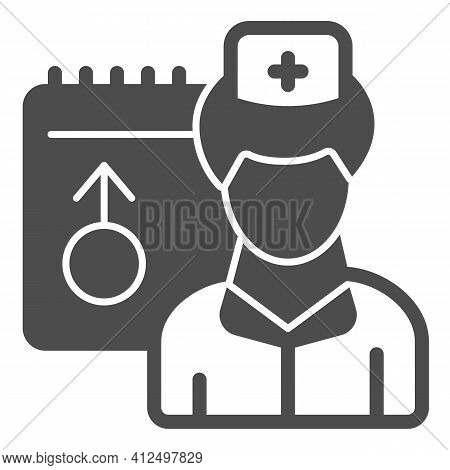 Male Doctor And Schedule Solid Icon, World Cancer Day Concept, Doctor Appointment Sign On White Back