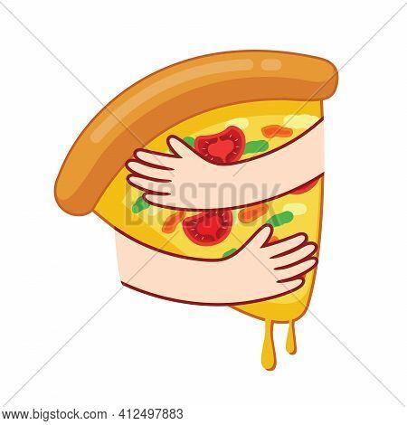 Embraces Pizza Icon Design. Hugging Pizza. Pizza Lover, Vector Illustration.