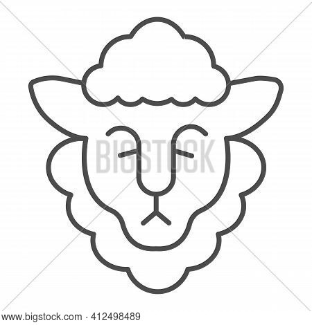 Head Of Sheep With Wool Thin Line Icon, Happy Easter Concept, Happy Goat Head Sign On White Backgrou