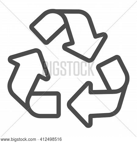 Recycling Of Materials Line Icon, Electric Car Concept, Reuse, Reduce, Recycle Sign On White Backgro